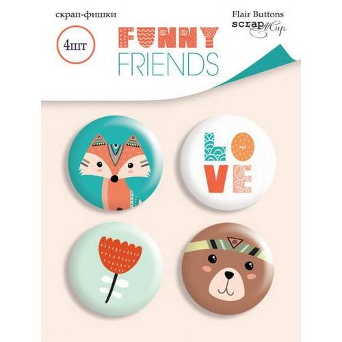 Набор скрап-фишек Funny Friends от Scrapmir, 4 шт.