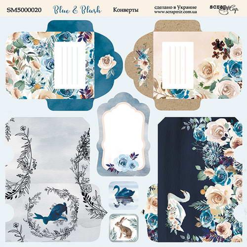 Двусторонний лист бумаги Конверты, Blue & Blush, 20х20 см