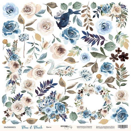Односторонний лист скрап-бумаги для вырезания Blue & Blush - Цветы, Scrapmir, 30,5х30,5 см