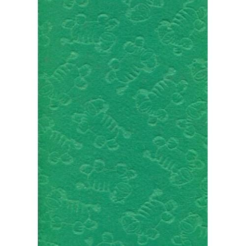 Фетр зеленый с тиснением Зебры, 21,5х28 см