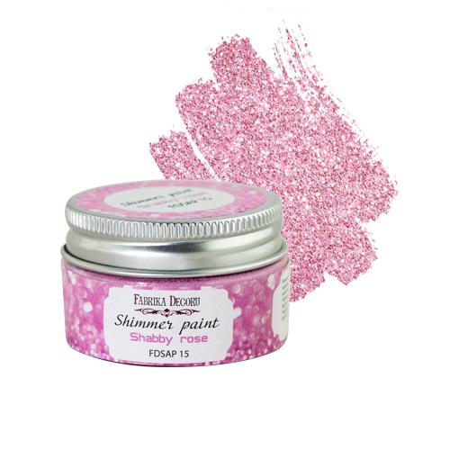 Краска с глиттером shimmer paint розовый шебби 30 мл, Фабрика Декора
