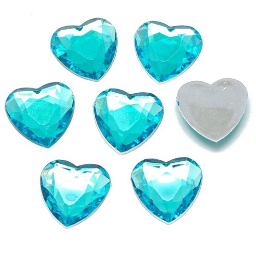 Камешки прозрачные Сердечки голубые, 10 шт