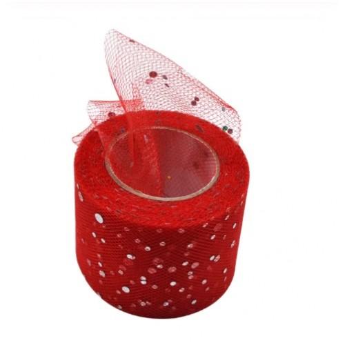 Фатиновая лента с серебряным горохом Красная, фото