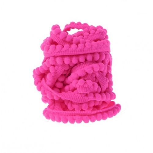 Тесьма с мини-помпонами Ярко-розовая, 1 м
