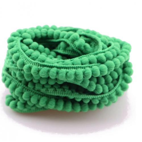 Тесьма с мини-помпонами Зеленая фото