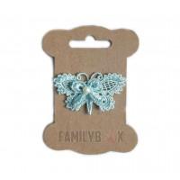 Кружевной элемент Бабочка с бусиной голубая, 3.5х5.5 см