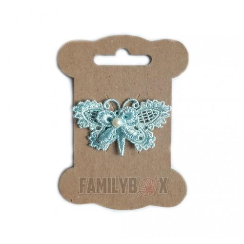 Кружевной элемент Бабочка с бусиной голубая 3.5х5.5 см фото