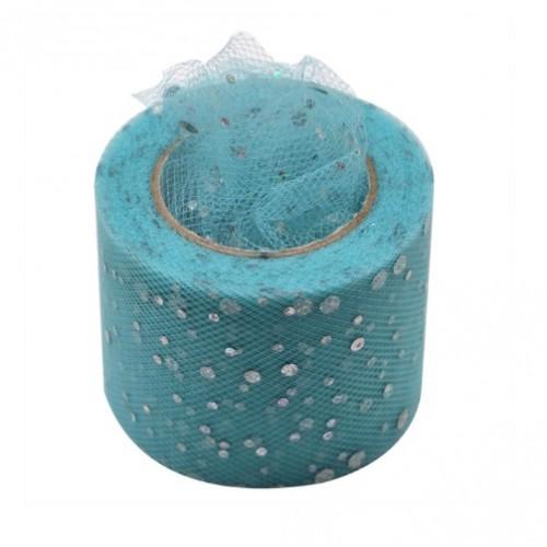 Фатиновая лента с серебряным горохом Голубая, фото
