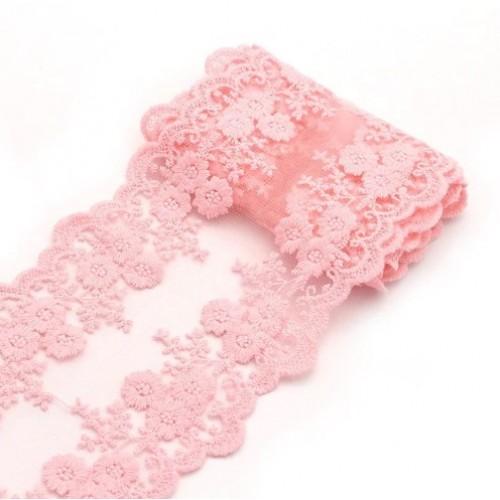 Кружево на сетке Розовое фото