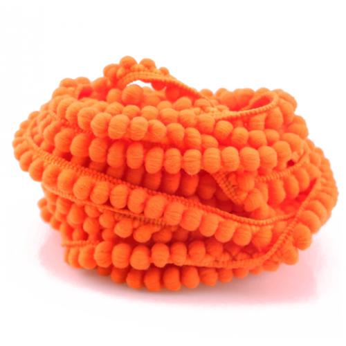 Тесьма с мини-помпонами Ярко-оранжевая фото