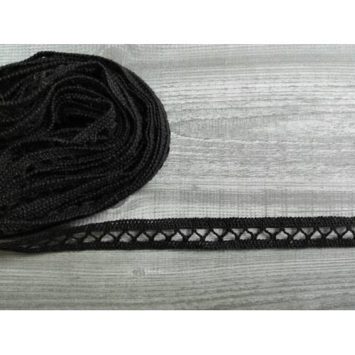 Кружево хлопковое Черное 10 мм, 1 м
