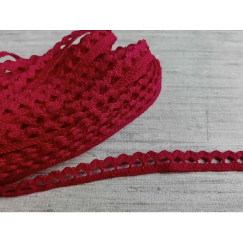 Кружево хлопок Красное 7 мм фото