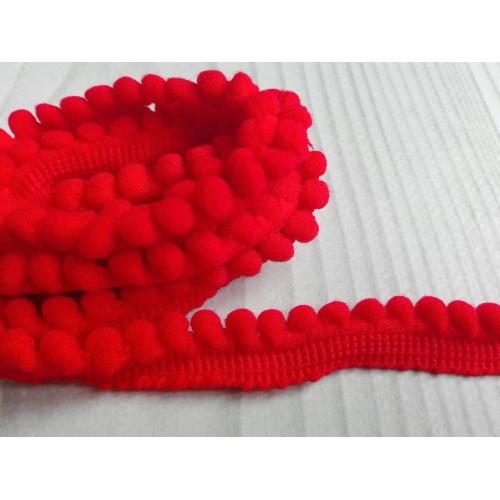 купить тесьму с мини-помпонами красную