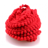 Тесьма с мини-помпонами Красная, 1 м