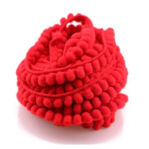 Тесьма с мини-помпонами Красная фото