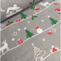 Ткань хлопок Снеговики и елки на сером фоне, 40*50 см