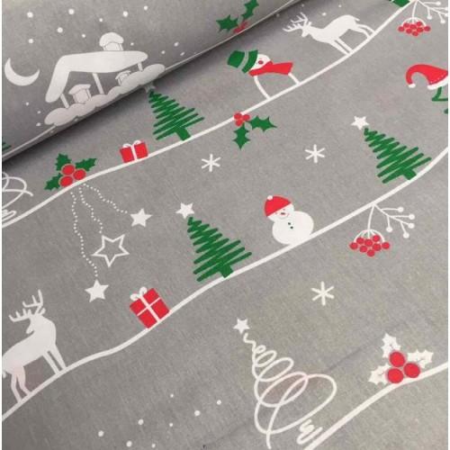 ткань хлопок снеговики и елки на сером фоне