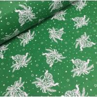 Ткань хлопок Новогодние игрушки на зеленом фоне, 40*50 см