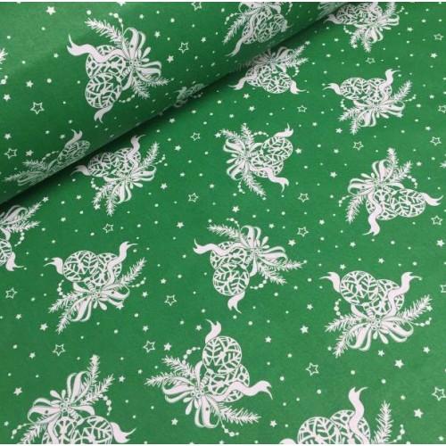 Ткань хлопок Новогодние игрушки на зеленом фоне фото
