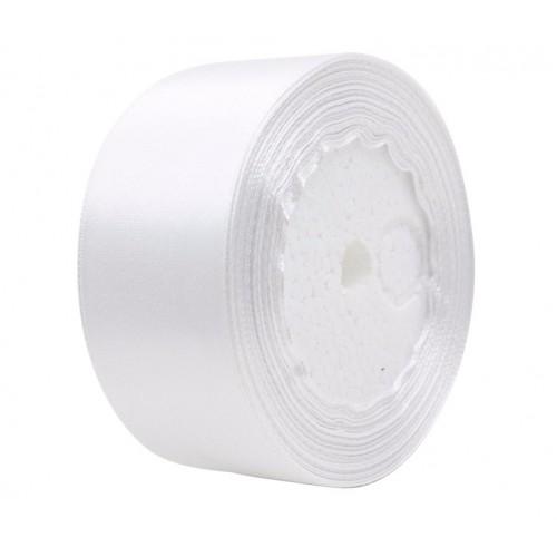 Лента атласная 5 см Белая, 1 м