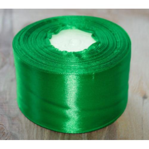 Лента атласная, 5см, зеленая
