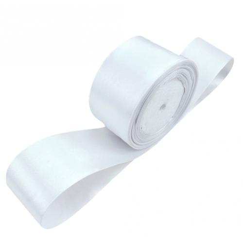 Лента атласная 5 см Белая фото