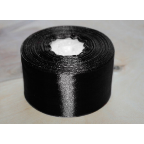 Лента атласная 5 см Черная фото