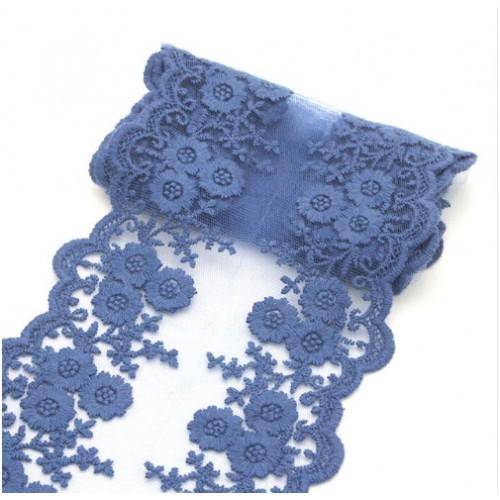 Кружево на сетке Синее фото