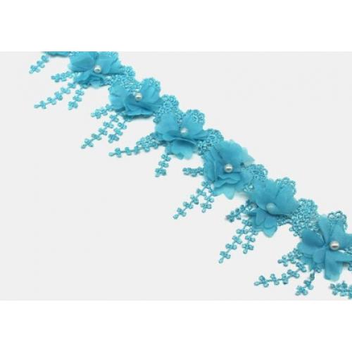 Шифоновый цветок на кружеве Голубой фото