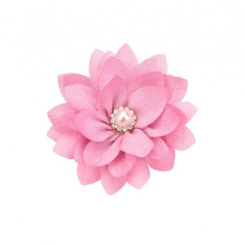 Шифоновый цветок Темно-розовый с жемчужной серединкой
