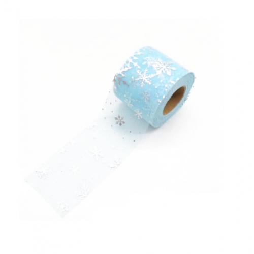 Фатиновая лента со снежинками Голубая, 60 мм, 1 метр