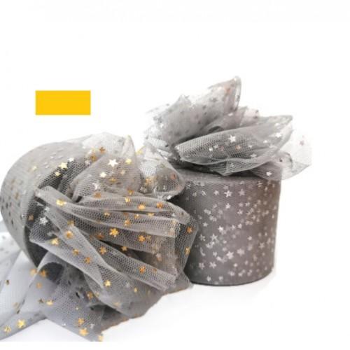 Фатиновая лента с золотыми звездами Серая, 60 мм, 1 метр