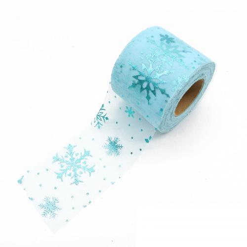 Фатиновая лента со снежинками Бирюзовая, 60 мм, 1 метр