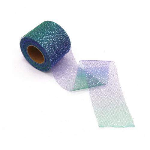 Фатиновая лента Фиолетово-зеленый градиент, 60 мм, 1 метр