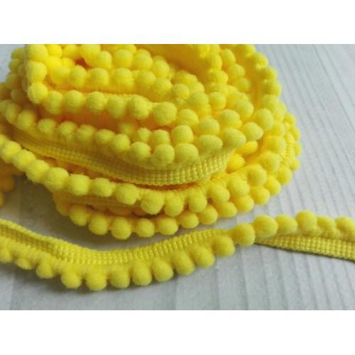 Тесьма с мини-помпонами Желтая фото