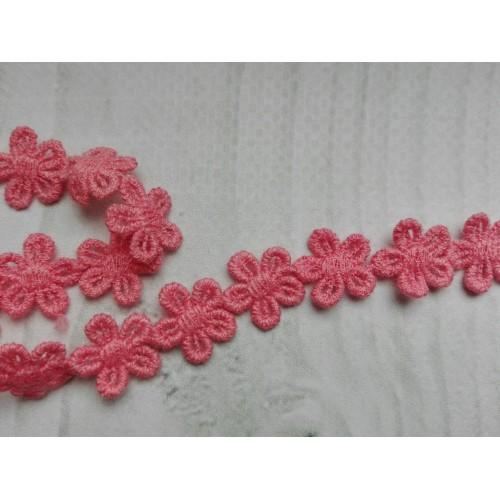 Кружево розовые цветочки, 13 мм, 1 м