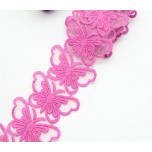 Кружевной элемент Бабочка на ленте Темно-розовая, 3.5х6 см