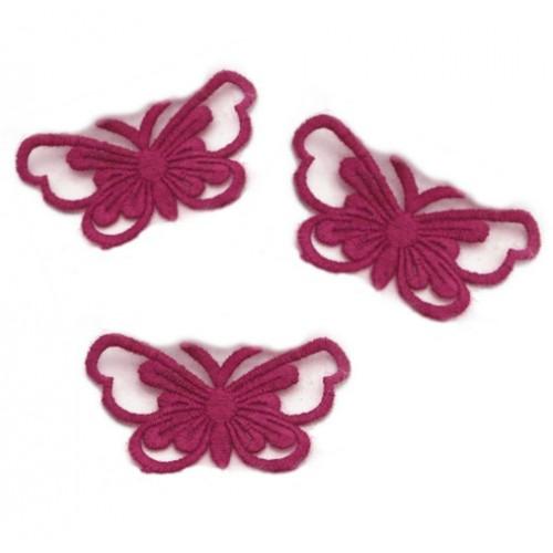 Кружевной элемент Бабочка на ленте бордовая, фото