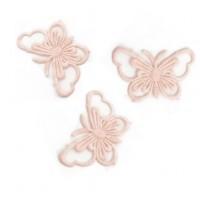 Кружевной элемент Бабочка на ленте розовая, 3.5х6 см