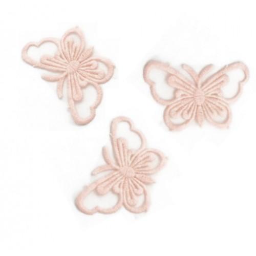 Кружевной элемент Бабочка на ленте розовая, фото
