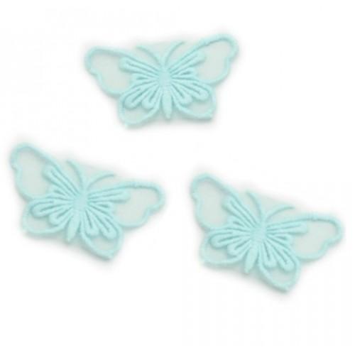 Кружевной элемент Бабочка на ленте мятная, фото