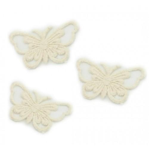 Кружевной элемент Бабочка на ленте бежевая, фото
