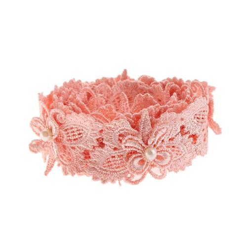 Кружевной элемент Бабочка с бусиной розовая фото