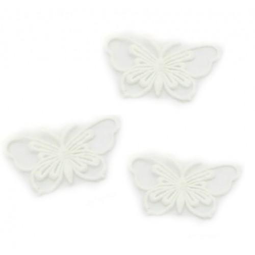 Кружевной элемент Бабочка на ленте белая, фото