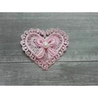 Кружевной элемент Сердце розовое