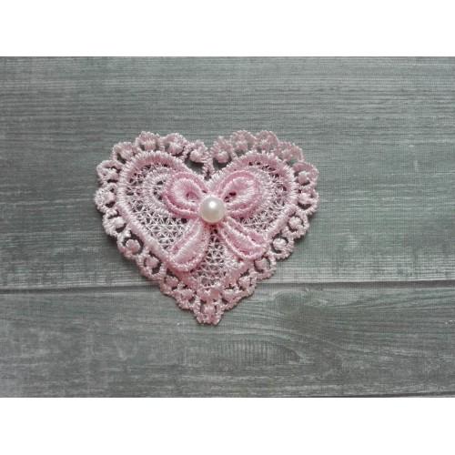 Кружевной элемент Сердце розовое фото