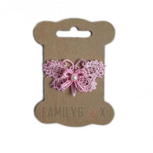Кружевной элемент Бабочка с бусиной розовая, фото