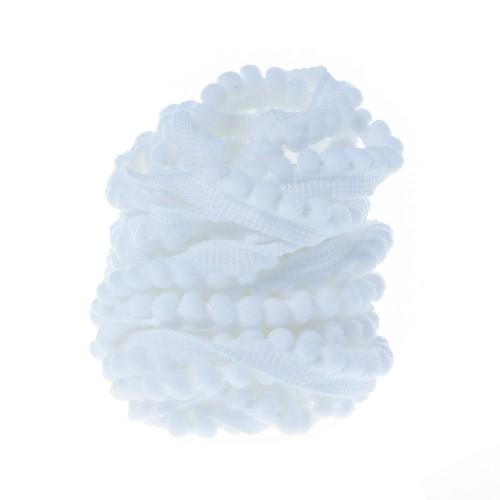 Тесьма с мини-помпонами Белая, 1 м
