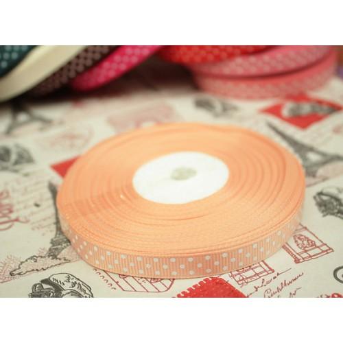Лента репсовая Персиковая в горошек 0.9 см фото
