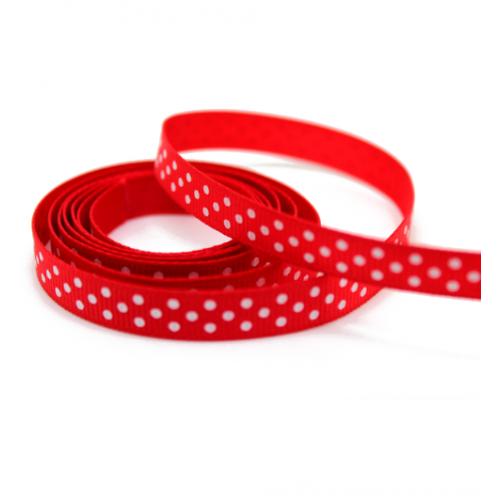 Лента репсовая Красная в горошек 0.9 см фото